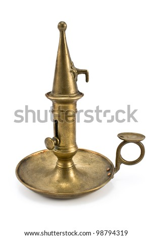 Old bronze candlestick with lid isolated on white