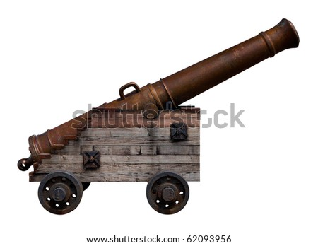 Old bronze cannon with a wooden base on a white background - stock photo
