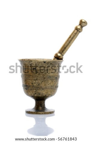 Old bronze mortar on isolated white background - stock photo