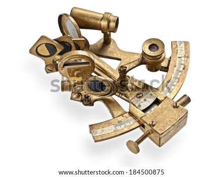 old bronze sextant on the white background  - stock photo