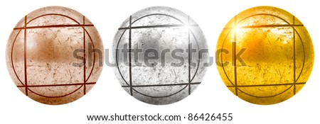 Old Bronze silver and golden petanque ball isolated on white - stock photo