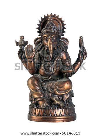 Old bronze statuette of hindu God Ganesha isolated on white background - stock photo