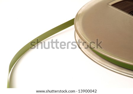 old broun reel in a white background - stock photo