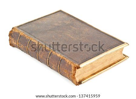 old brown book on white