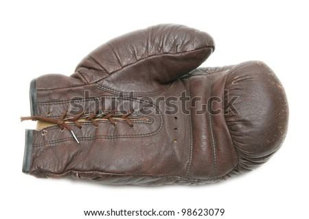old brown boxing glove - stock photo