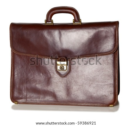Old brown briefcase - stock photo
