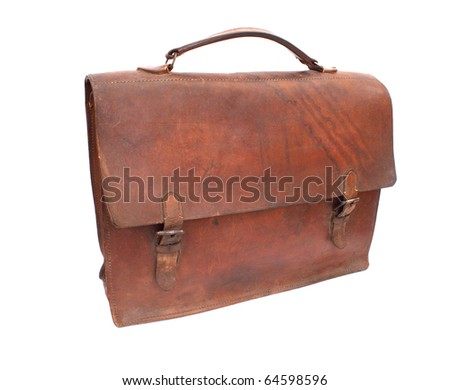 Old brown briefcase antiques, isolated on a white background - stock photo