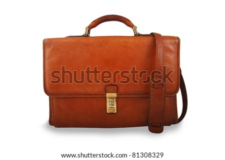 Old brown briefcase with shoulder strap isolated on white - stock photo