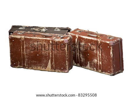 Old brown cheap suitcases for travel  isolated over white background - stock photo