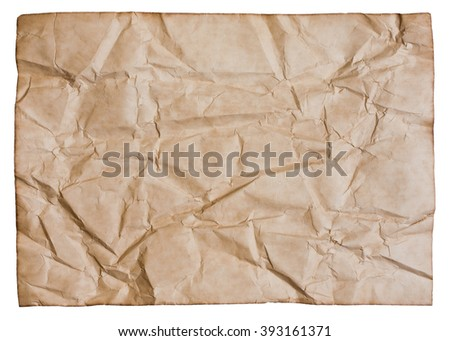 Old brown creased paper with burned edges isolated on white, with clipping path - stock photo