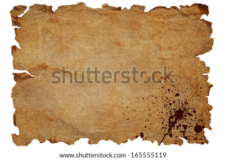 Old brown dirty textured paper with blood splatters and damaged edges isolated on white background