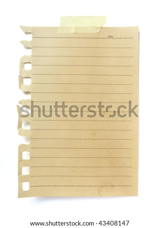 old brown grunge paper on white background with clipping path - stock photo