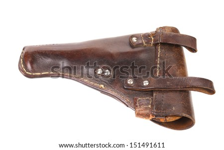 Old brown holster isolated on white background.