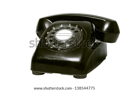 Old brown isolated phone on white background - stock photo