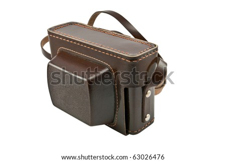 old brown leather camera case over white background - stock photo