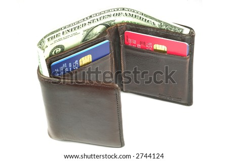 Old brown leather wallet open with a dollar bill sticking out, isolated on white. - stock photo