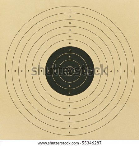 Old brown paper target for shooting practice - stock photo