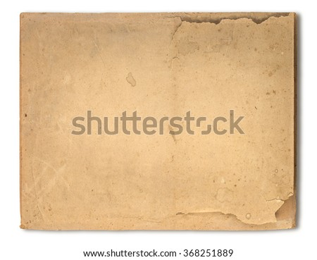 Old brown paper texture isolated on white with clipping path