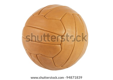 Old brown soccer ball over a white background - stock photo