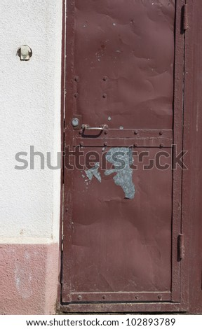 old brown steel door - stock photo