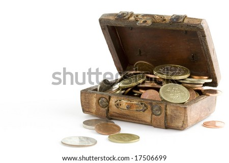 Old brown suitcase full of money on white background