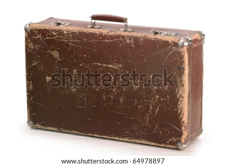 Old brown suitcase isolated on white - stock photo