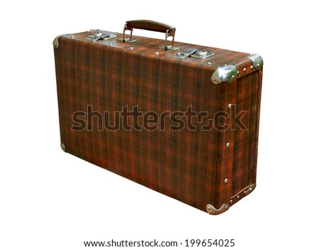 old brown suitcase isolated on white background