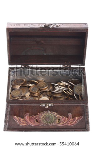 Old brown treasure chest full of EURO coins isolated on white - stock photo