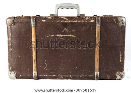 Old Brown used and weathered suitcase isolated on white background - stock photo