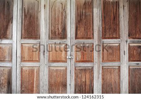 old brown wooden asian style door - stock photo