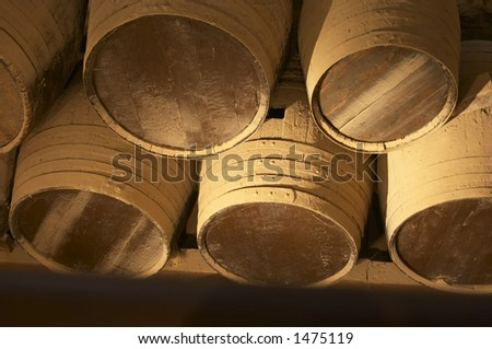 old brown wooden barrel - stock photo