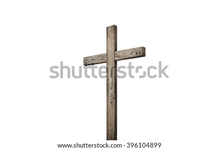 Old brown wooden cross, on a white background - stock photo