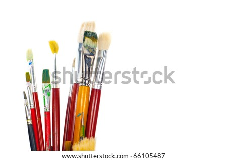 old brushes. isolated on a white - stock photo