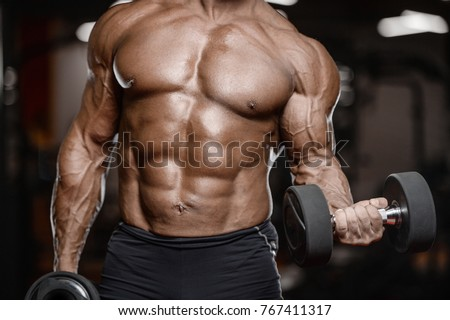 Old Brutal Sexy Strong Bodybuilder Athletic Fitness Man Pumping Up Abs Muscles Workout Bodybuilding Concept Background
