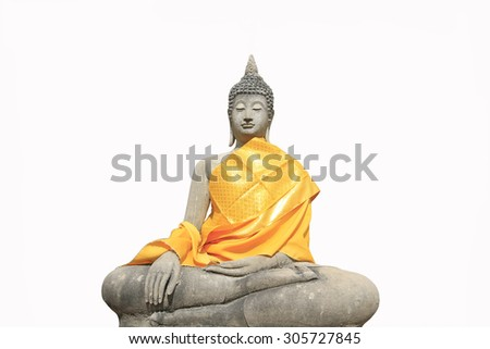 Old Buddha image on white background