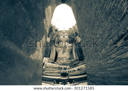 old Buddha in old town of Sukhothai historical park, the old town of Thailand - stock photo