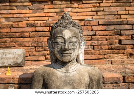 old buddha in the ruin ancient temple - stock photo