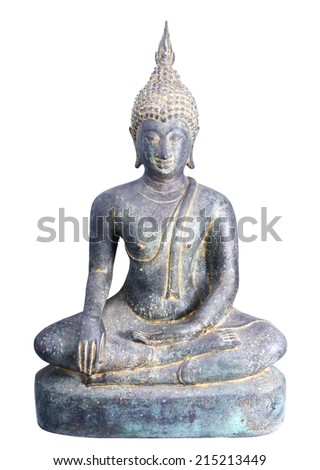 Old Buddha isolated on white background.