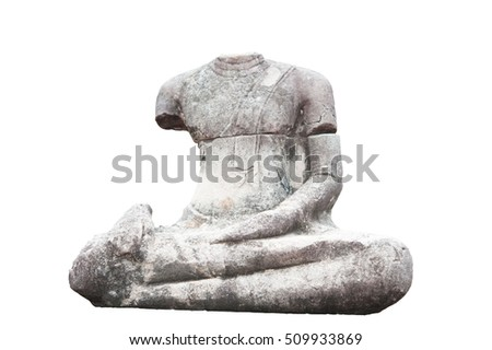Old Buddha statue with white background