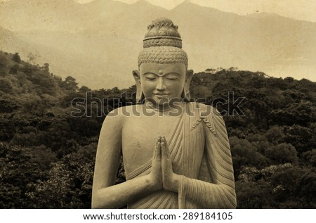 Old Budha - statue in Asia - vintage effect - stock photo