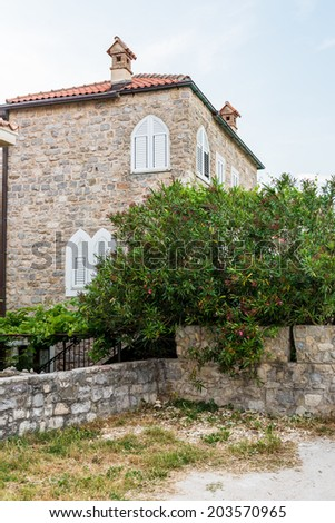 Old Budva. Houses, streets and alleys. Montenegro - stock photo