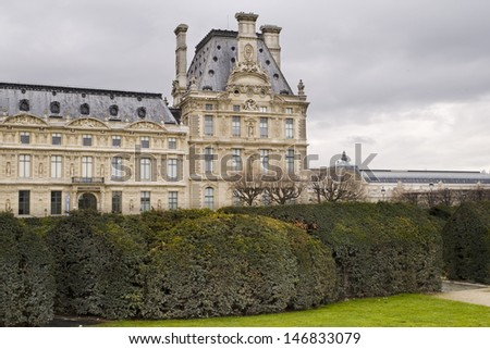 old building and gardens - stock photo