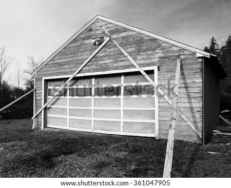 Old Building Being Braced For Safety. - stock photo
