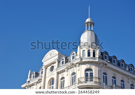 old building blue sky - stock photo