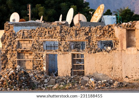 Old building demolished in Khor Fakkan. - stock photo