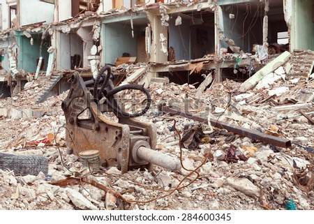 old building destroyed demolition construction concrete architecture garbage abandoned - stock photo