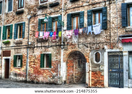 old building facade in Venice, Italy. Hdr tone mapping. - stock photo