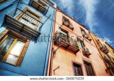 old building in Bosa, Sardinia - stock photo