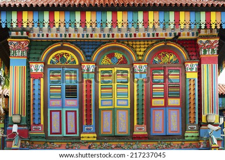Old building in little India in Singapore  - stock photo