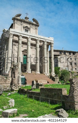 Old building in Roman forum in Rome, Italy. - stock photo